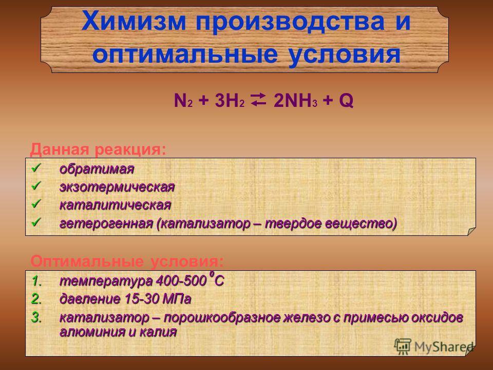 Химизм производства и оптимальные условия N 2 + 3H 2 2NH 3 + Q Данная реакция: обратимая обратимая экзотермическая экзотермическая каталитическая каталитическая гетерогенная (катализатор – твердое вещество) гетерогенная (катализатор – твердое веществ