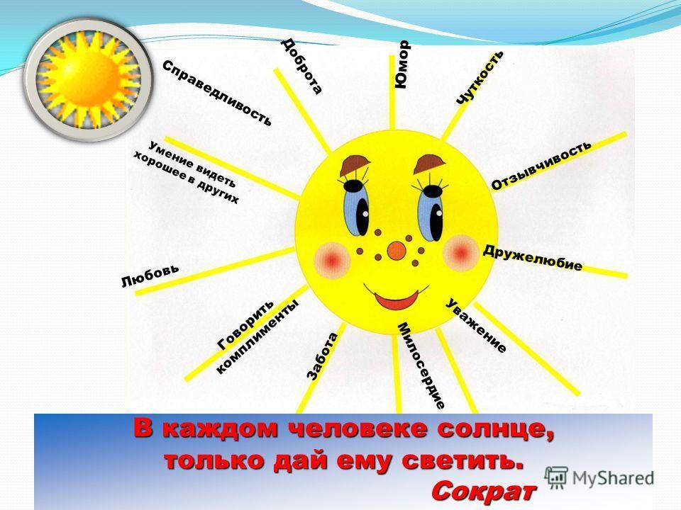 Доброта Чуткость Забота Любовь Уважение Справедливость Милосердие Отзывчивость Юмор Дружелюбие Умение видеть хорошее в других Говорить комплименты В каждом человеке солнце, только дай ему светить. Сократ Сократ