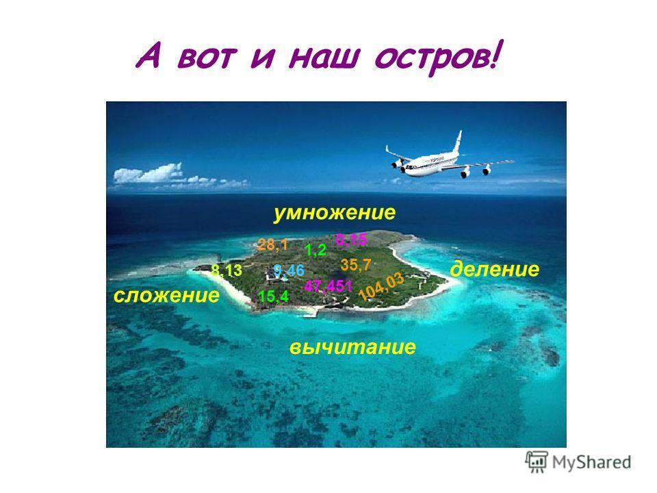 А вот и наш остров! 0,15 1,2 8,13 15,4 9,46 28,1 35,7 47,451 104,03 умножение деление сложение вычитание