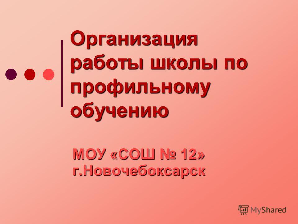 Организация работы школы по профильному обучению МОУ «СОШ 12» г.Новочебоксарск