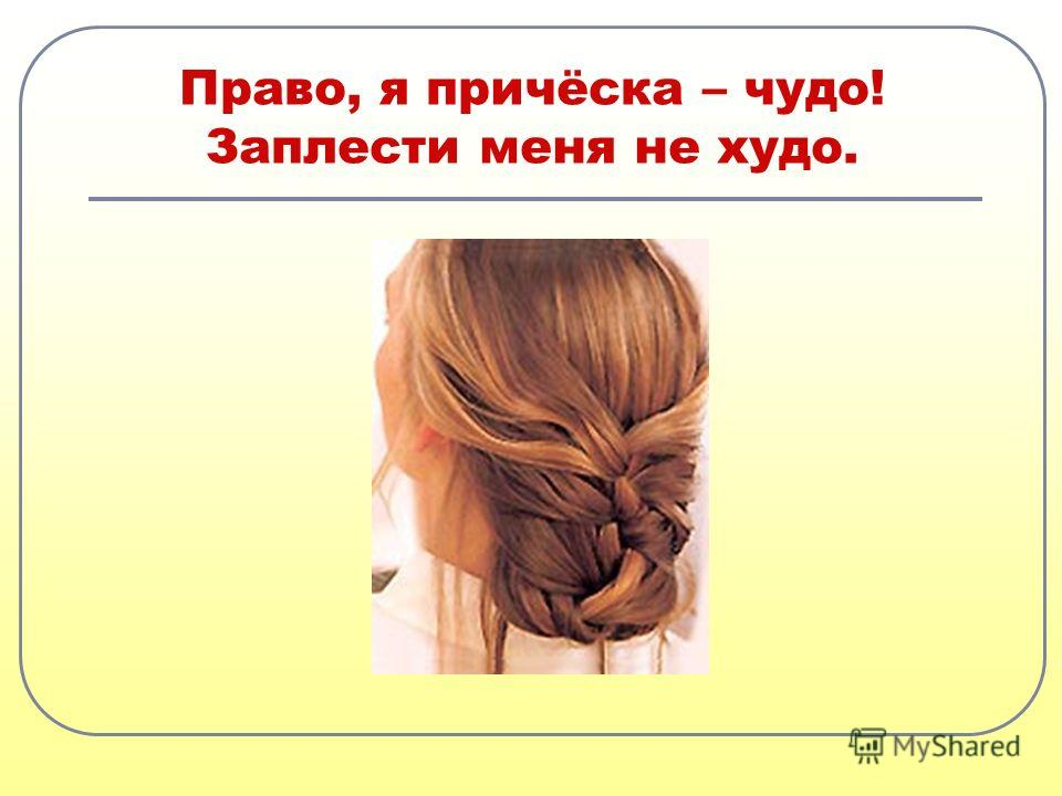 Право, я причёска – чудо! Заплести меня не худо.