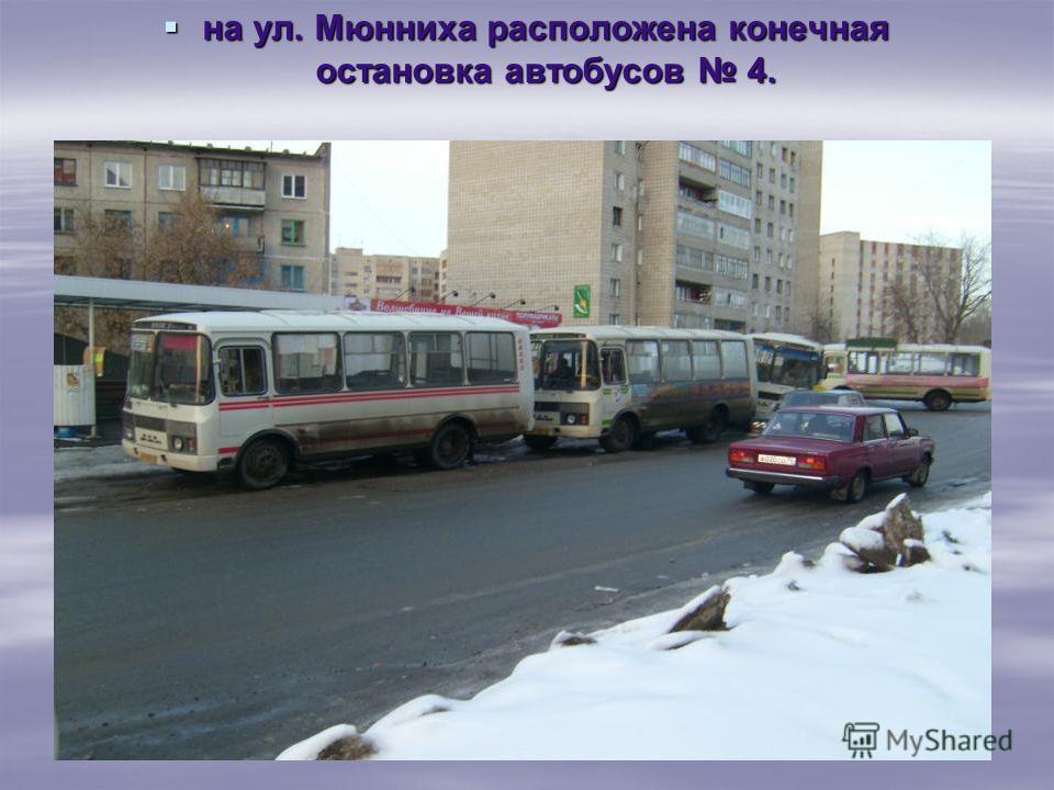 на ул. Мюнниха расположена конечная остановка автобусов 4. на ул. Мюнниха расположена конечная остановка автобусов 4.