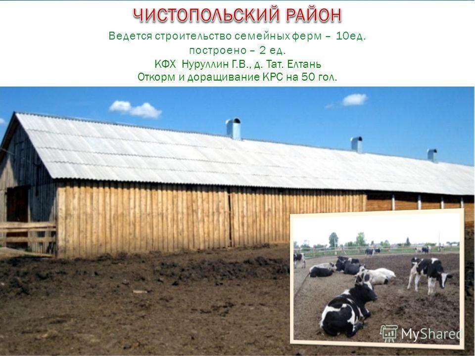КФХ Нуруллин Г.В., д. Тат. Елтань Откорм и доращивание КРС на 50 гол. Ведется строительство семейных ферм – 10ед. построено – 2 ед.