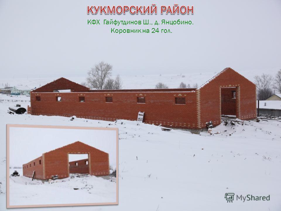 КФХ Гайфутдинов Ш., д. Янцобино. Коровник на 24 гол.