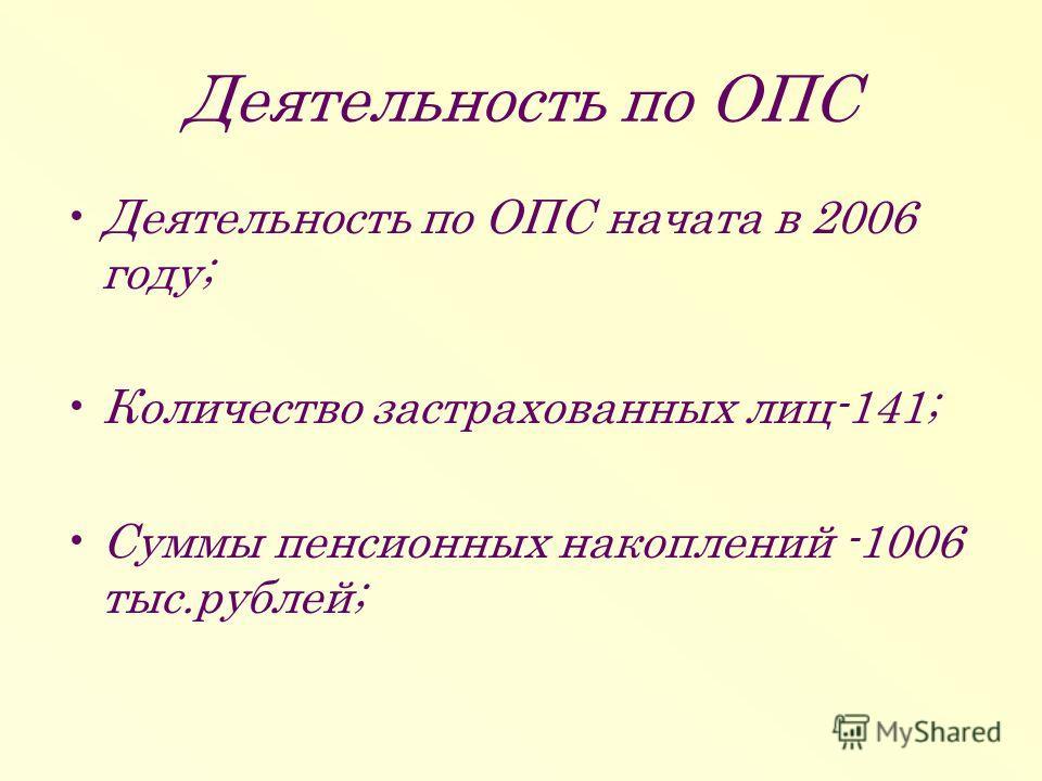 Деятельность по ОПС Деятельность по ОПС начата в 2006 году; Количество застрахованных лиц-141; Суммы пенсионных накоплений -1006 тыс.рублей;