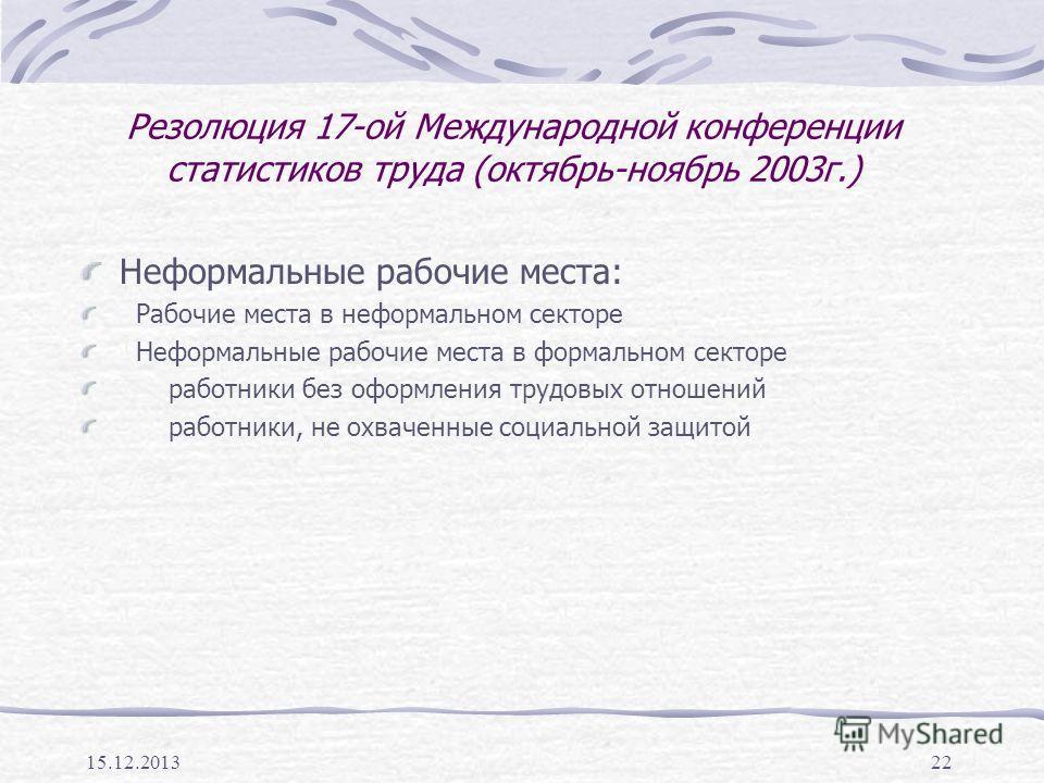 15.12.201322 Резолюция 17-ой Международной конференции статистиков труда (октябрь-ноябрь 2003г.) Неформальные рабочие места: Рабочие места в неформальном секторе Неформальные рабочие места в формальном секторе работники без оформления трудовых отноше