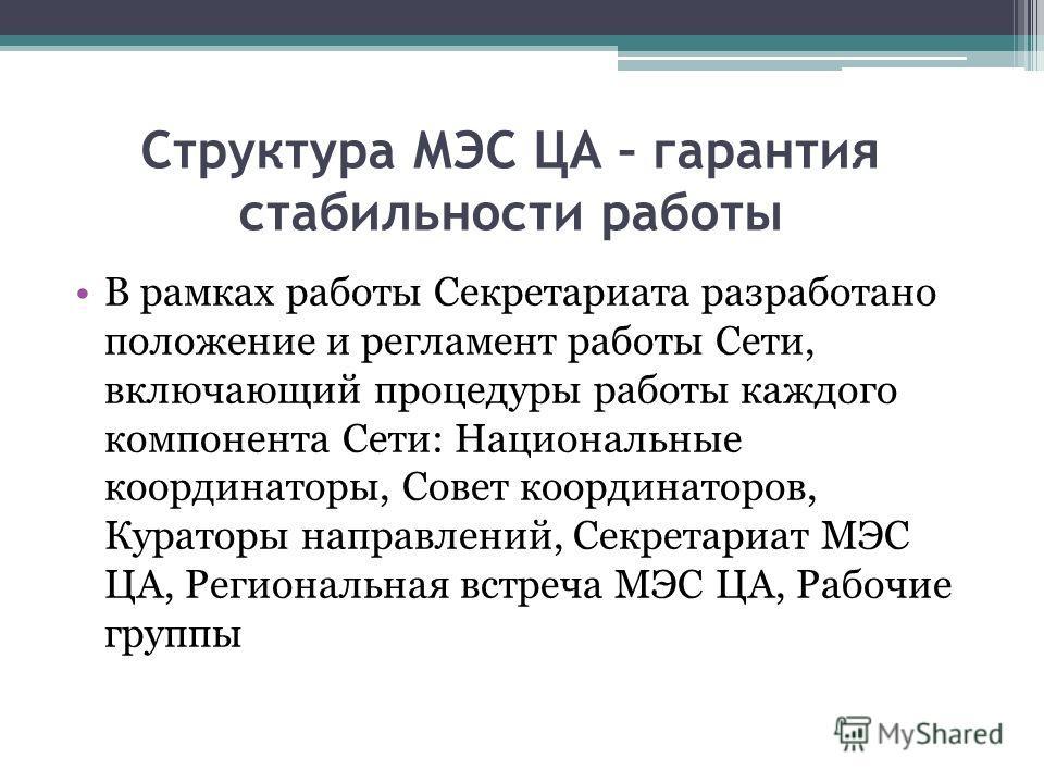 В рамках работы Секретариата разработано положение и регламент работы Сети, включающий процедуры работы каждого компонента Сети: Национальные координаторы, Совет координаторов, Кураторы направлений, Секретариат МЭС ЦА, Региональная встреча МЭС ЦА, Ра