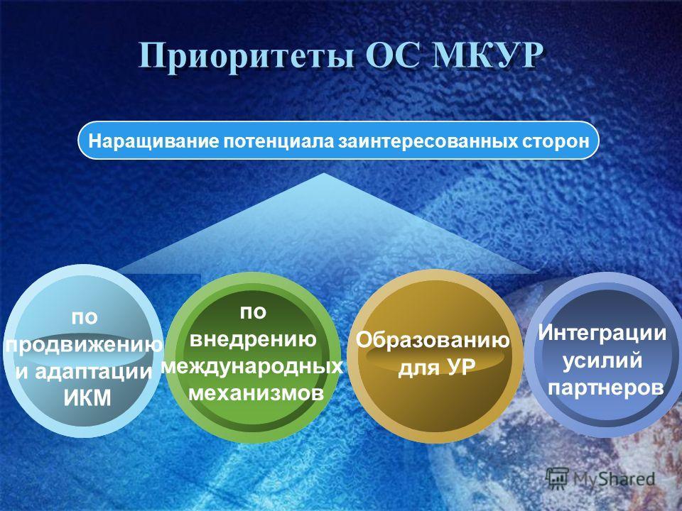 Приоритеты ОС МКУР Наращивание потенциала заинтересованных сторон по продвижению и адаптации ИКМ по внедрению международных механизмов Интеграции усилий партнеров Образованию для УР