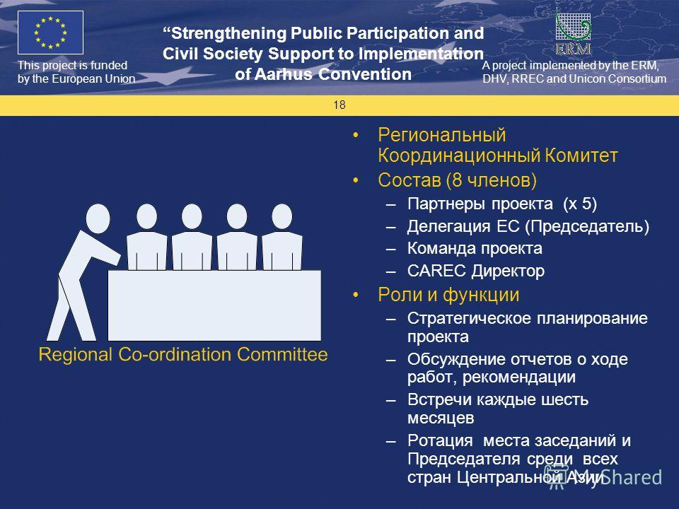 This project is funded by the European Union Strengthening Public Participation and Civil Society Support to Implementation of Aarhus Convention A project implemented by the ERM, DHV, RREC and Unicon Consortium 18 Региональный Координационный Комитет