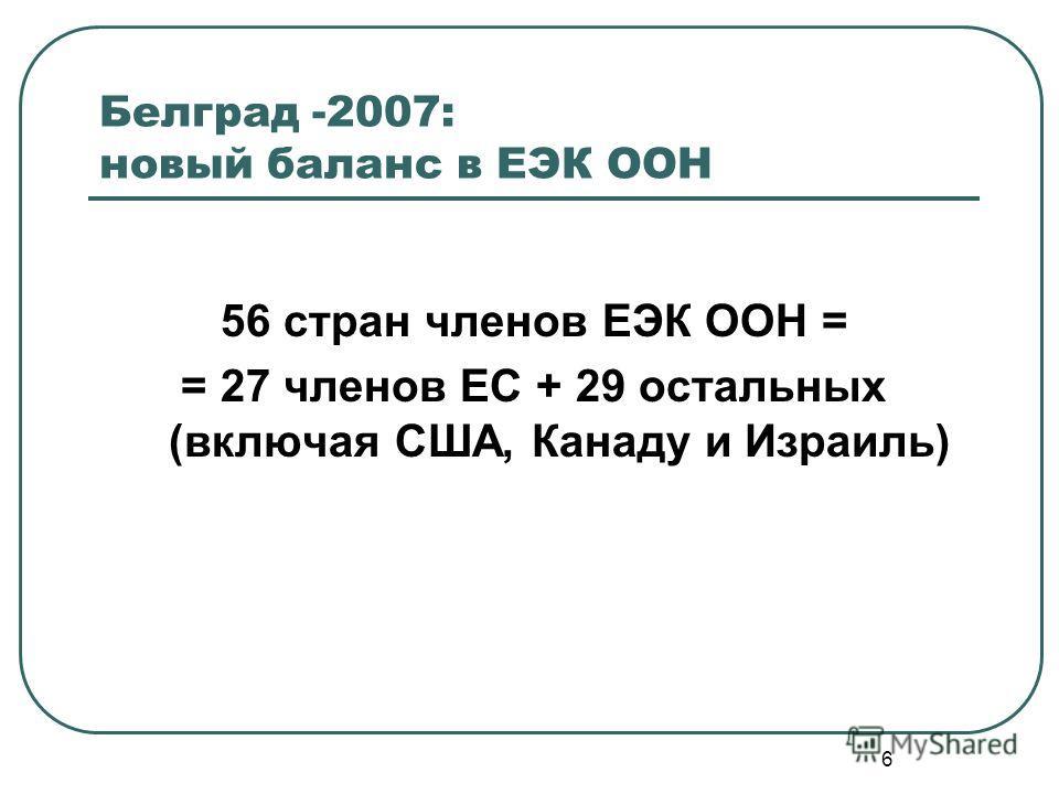 6 Белград -2007: новый баланс в ЕЭК ООН 56 стран членов ЕЭК ООН = = 27 членов ЕС + 29 остальных (включая США, Канаду и Израиль)