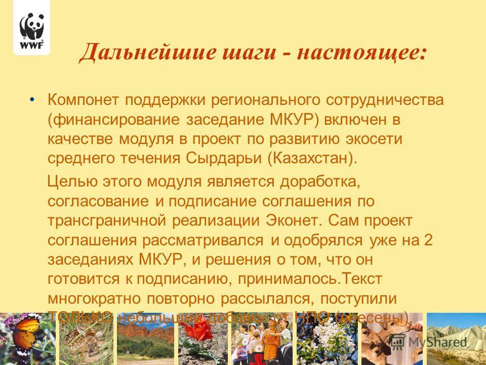 Компонет поддержки регионального сотрудничества (финансирование заседание МКУР) включен в качестве модуля в проект по развитию экосети среднего течения Сырдарьи (Казахстан). Целью этого модуля является доработка, согласование и подписание соглашения