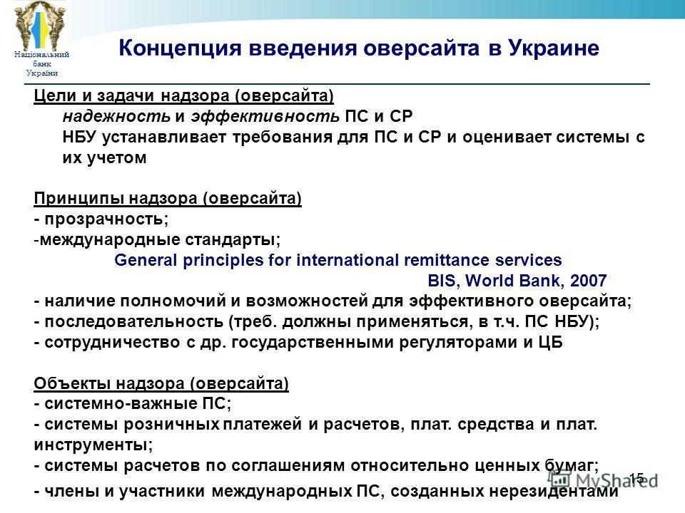НаціональнийбанкУкраїни 15 Цели и задачи надзора (оверсайта) надежность и эффективность ПС и СР НБУ устанавливает требования для ПС и СР и оценивает системы с их учетом Принципы надзора (оверсайта) - прозрачность; -международные стандарты; General pr