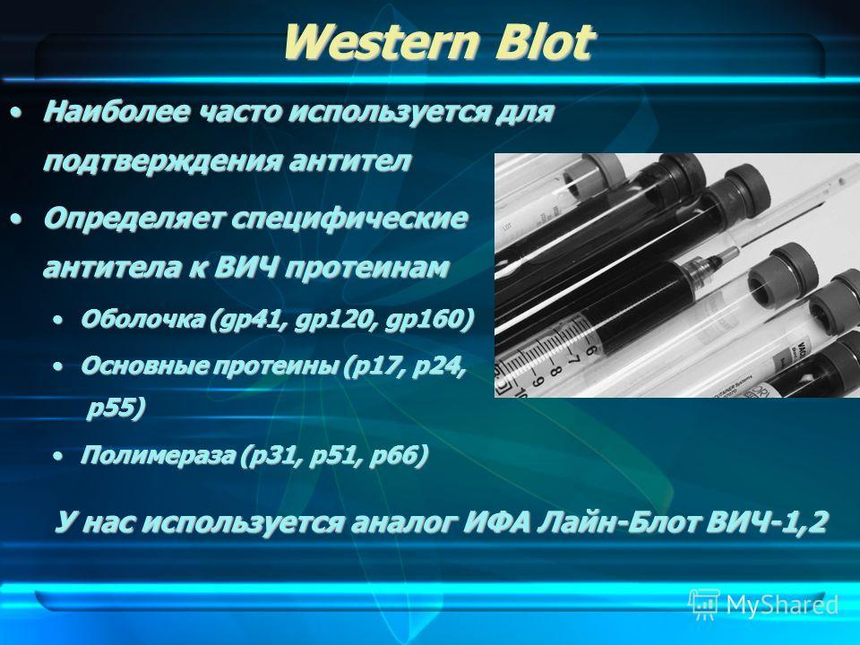 Western Blot Наиболее часто используется для подтверждения антителНаиболее часто используется для подтверждения антител Определяет специфические антитела к ВИЧ протеинамОпределяет специфические антитела к ВИЧ протеинам Оболочка (gp41, gp120, gp160)Об