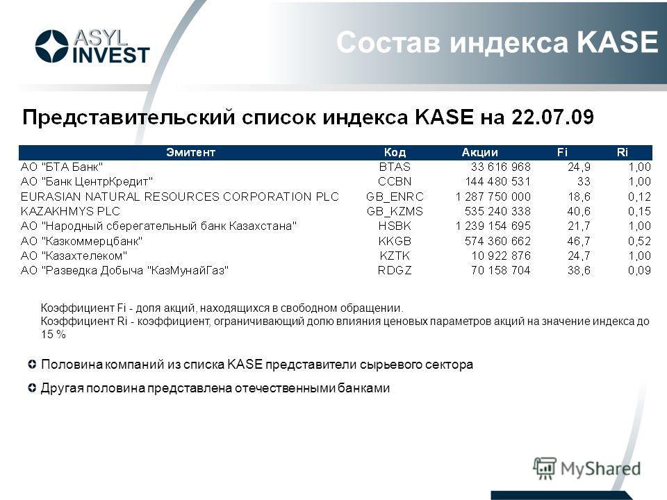 Состав индекса KASE Коэффициент Fi - доля акций, находящихся в свободном обращении. Коэффициент Ri - коэффициент, ограничивающий долю влияния ценовых параметров акций на значение индекса до 15 % Половина компаний из списка KASE представители сырьевог