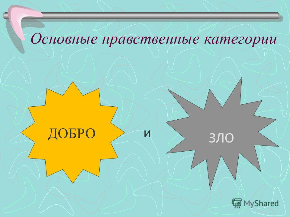 Основные нравственные категории и ЗЛО ДОБРО