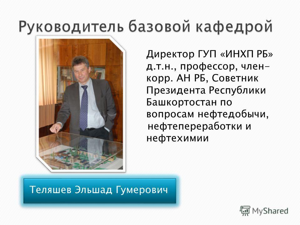 Директор ГУП «ИНХП РБ» д.т.н., профессор, член- корр. АН РБ, Советник Президента Республики Башкортостан по вопросам нефтедобычи, нефтепереработки и нефтехимии