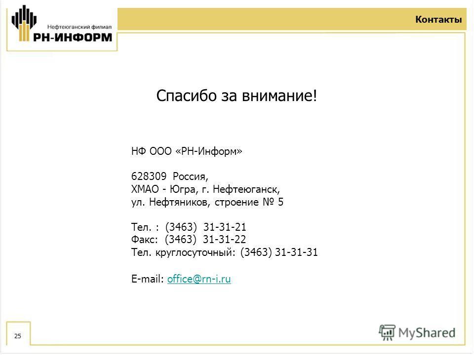 25 Контакты НФ ООО «РН-Информ» 628309 Россия, ХМАО - Югра, г. Нефтеюганск, ул. Нефтяников, строение 5 Тел. : (3463) 31-31-21 Факс: (3463) 31-31-22 Тел. круглосуточный: (3463) 31-31-31 E-mail: office@rn-i.ruoffice@rn-i.ru Спасибо за внимание!