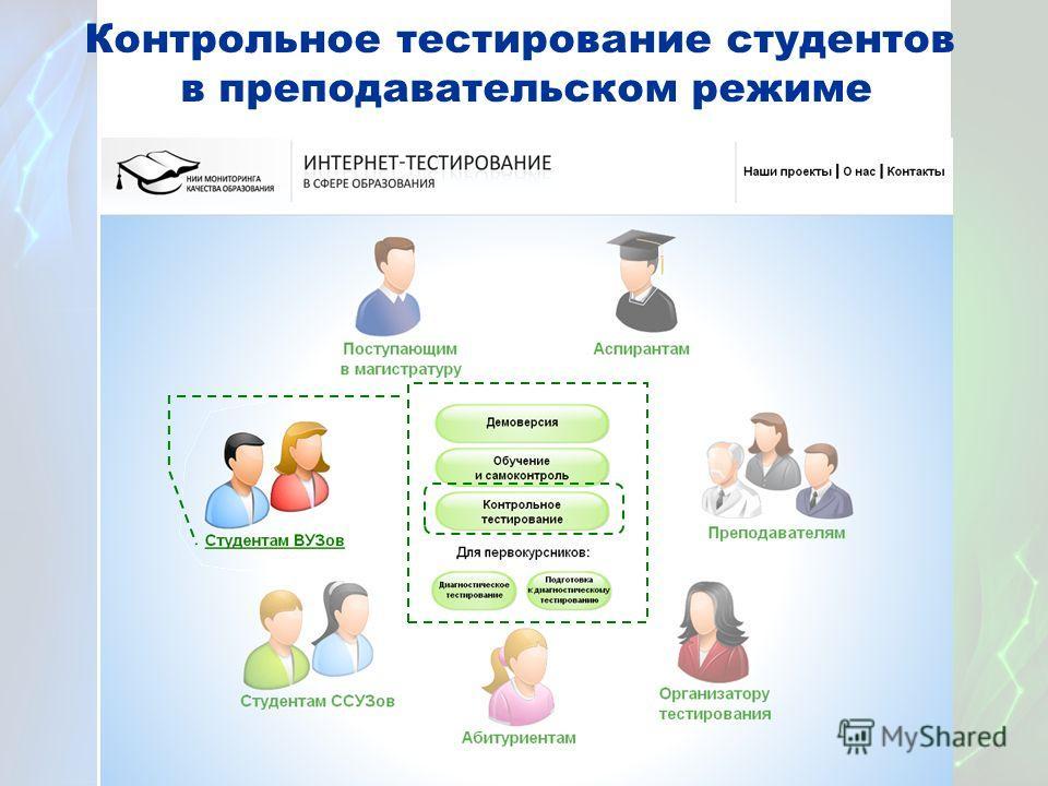 Контрольное тестирование студентов в преподавательском режиме