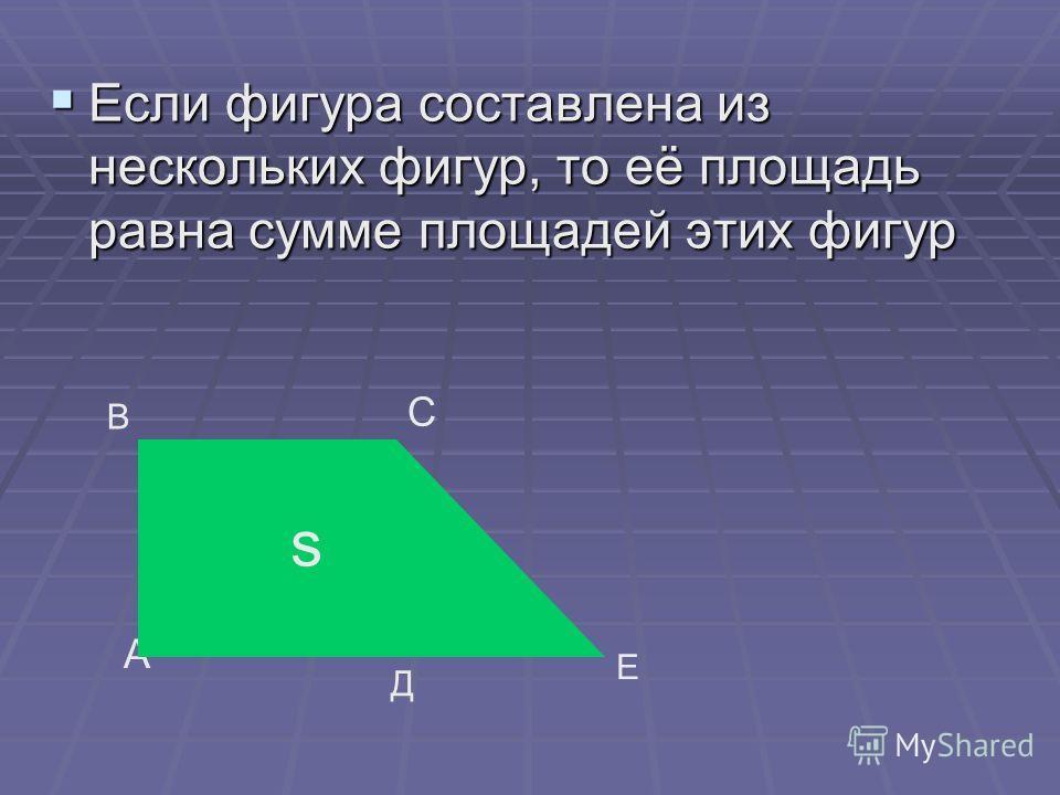 Если фигура составлена из нескольких фигур, то её площадь равна сумме площадей этих фигур Если фигура составлена из нескольких фигур, то её площадь равна сумме площадей этих фигур А В С Д Е s