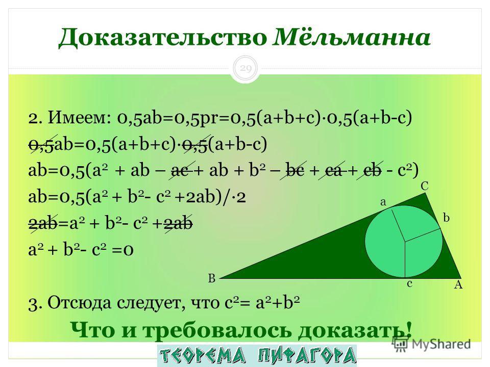 Что и требовалось доказать! 2. Имеем: 0,5ab=0,5pr=0,5(a+b+c)·0,5(a+b-c) 0,5ab=0,5(a+b+c)·0,5(a+b-c) аb=0,5(а 2 + ab – ac + ab + b 2 – bc + ca + cb - с 2 ) аb=0,5(а 2 + b 2 - с 2 +2ab)/·2 2аb=а 2 + b 2 - с 2 +2ab а 2 + b 2 - с 2 =0 3. Отсюда следует,