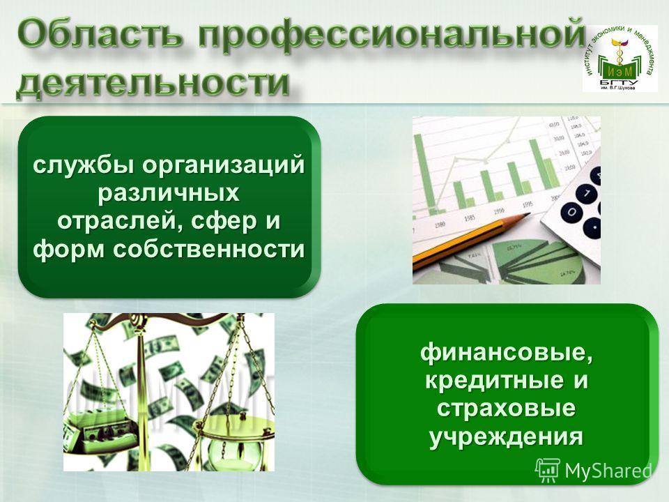службы организаций различных отраслей, сфер и форм собственности финансовые, кредитные и страховые учреждения