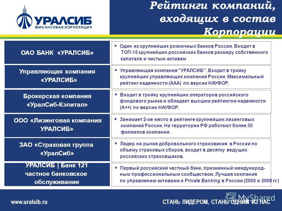 www.uralsib.ruСТАНЬ ЛИДЕРОМ, СТАНЬ ОДНИМ ИЗ НАС Управляющая компания «УРАЛСИБ» Управляющая компания