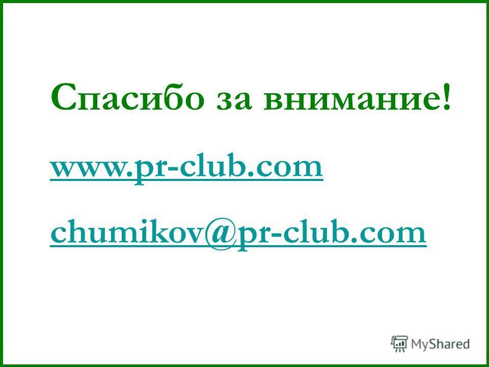 Спасибо за внимание! www.pr-club.com chumikov@pr-club.com
