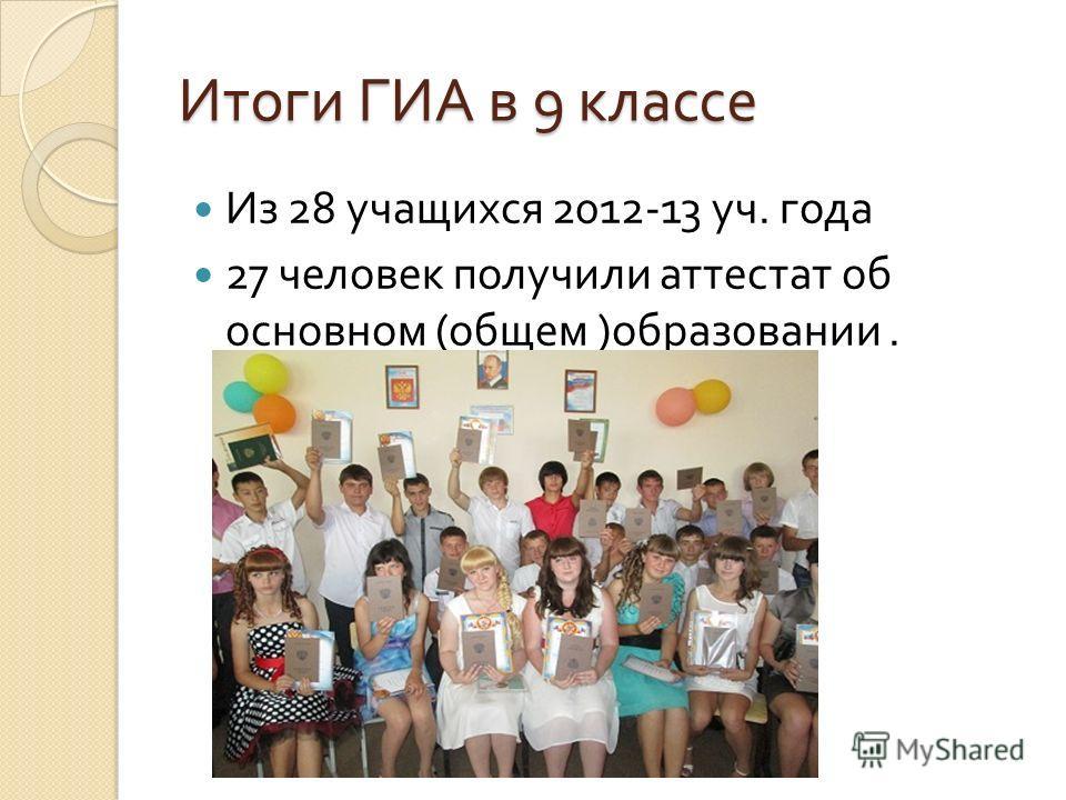 Итоги ГИА в 9 классе Из 28 учащихся 2012-13 уч. года 27 человек получили аттестат об основном ( общем ) образовании.