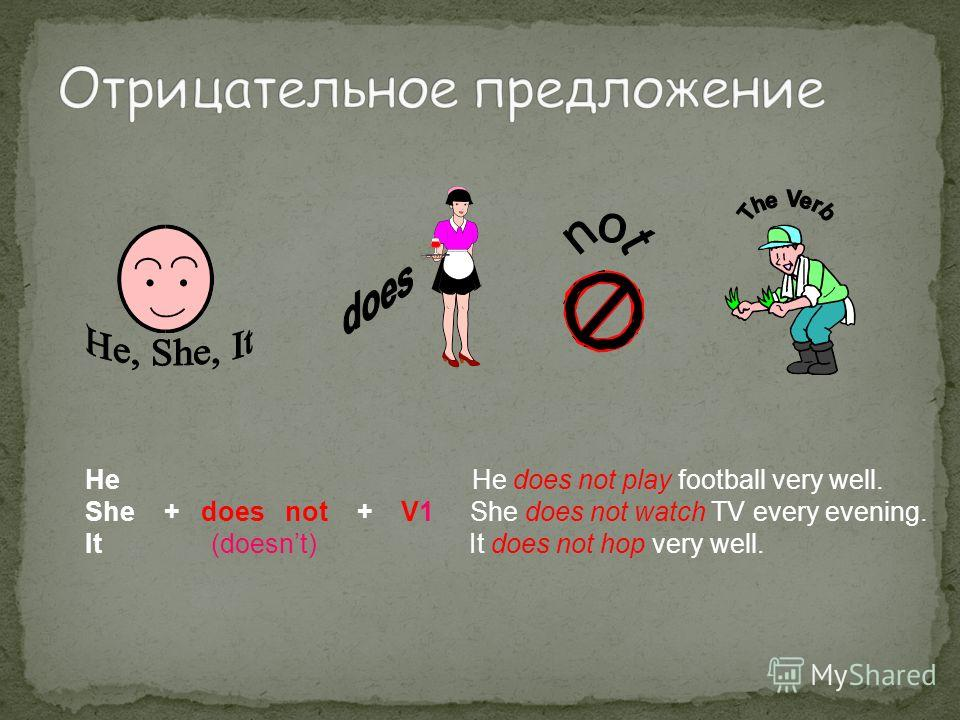 He He does not play football very well. She + does not + V1 She does not watch TV every evening. It (doesnt) It does not hop very well.