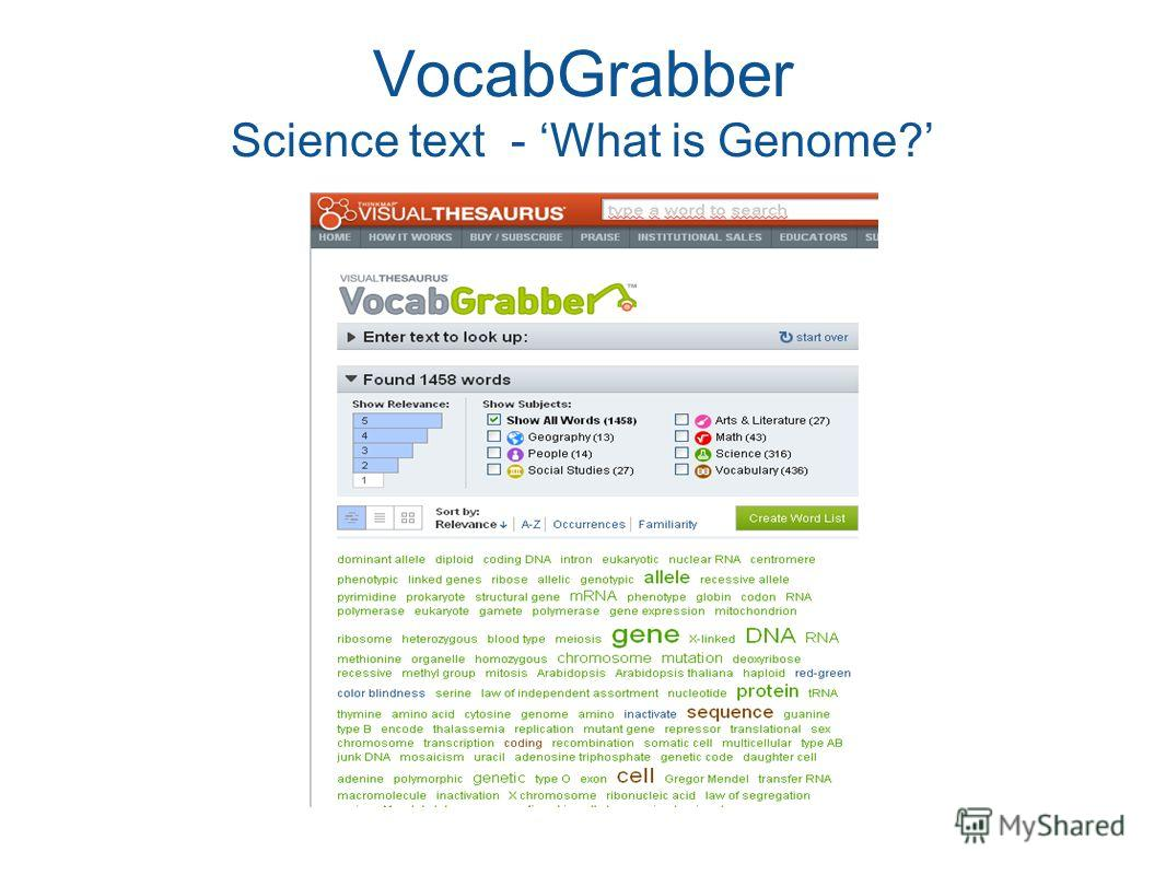 VocabGrabber Science text - What is Genome?