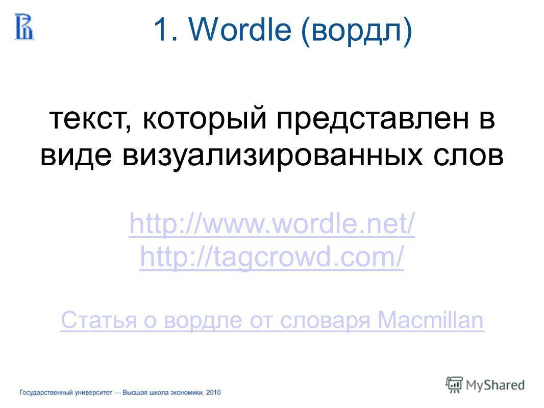 текст, который представлен в виде визуализированных слов http://www.wordle.net/ http://tagcrowd.com/ Статья о вордле от словаря Macmillan 1. Wordle (вордл)