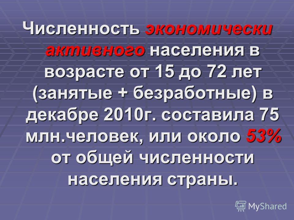 Численность экономически активного населения в возрасте от 15 до 72 лет (занятые + безработные) в декабре 2010г. составила 75 млн.человек, или около 53% от общей численности населения страны.