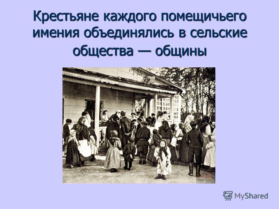 Крестьяне каждого помещичьего имения объединялись в сельские общества общины