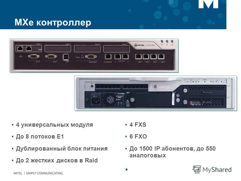 МХе контроллер 4 универсальных модуля До 8 потоков Е1 Дублированный блок питания До 2 жестких дисков в Raid 4 FXS 6 FXO До 1500 IP абонентов, до 550 аналоговых