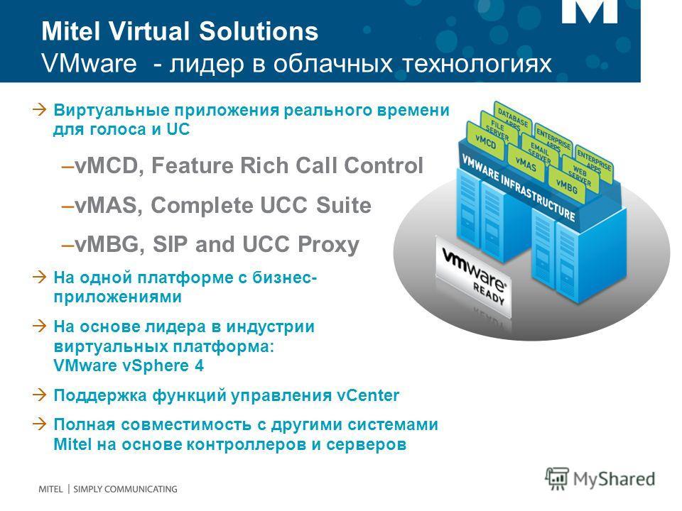 Mitel Virtual Solutions VMware - лидер в облачных технологиях Виртуальные приложения реального времени для голоса и UC –vMCD, Feature Rich Call Control –vMAS, Complete UCC Suite –vMBG, SIP and UCC Proxy На одной платформе с бизнес- приложениями На ос