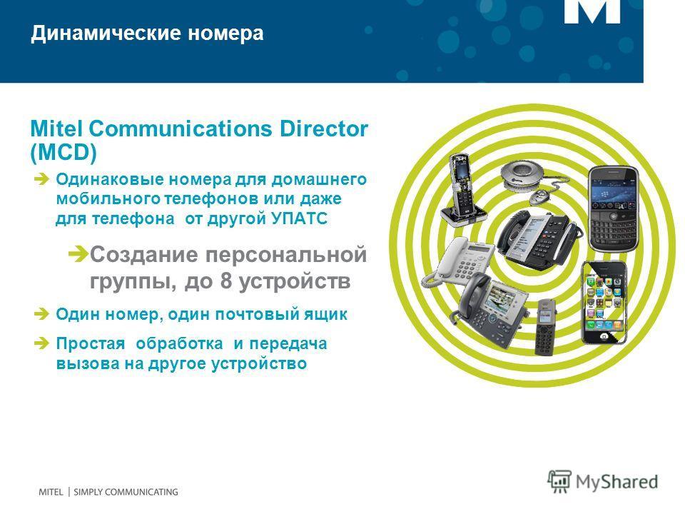 Mitel Communications Director (MCD) Динамические номера Одинаковые номера для домашнего мобильного телефонов или даже для телефона от другой УПАТС Создание персональной группы, до 8 устройств Один номер, один почтовый ящик Простая обработка и передач