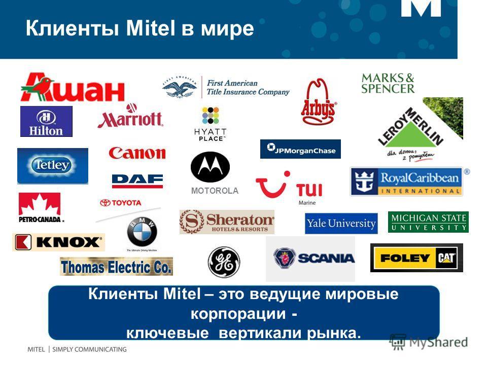 Клиенты Mitel – это ведущие мировые корпорации - ключевые вертикали рынка. MOTOROLA Клиенты Mitel в мире