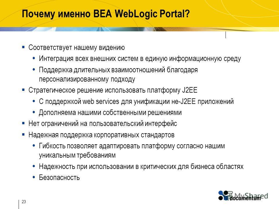23 Почему именно BEA WebLogic Portal? Соответствует нашему видению Интеграция всех внешних систем в единую информационную среду Поддержка длительных взаимоотношений благодаря персонализированному подходу Стратегическое решение использовать платформу