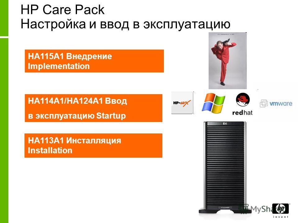 HP Care Pack Настройка и ввод в эксплуатацию HA113A1 Инсталляция Installation HA114A1/HA124A1 Ввод в эксплуатацию Startup HA115A1 Внедрение Implementation
