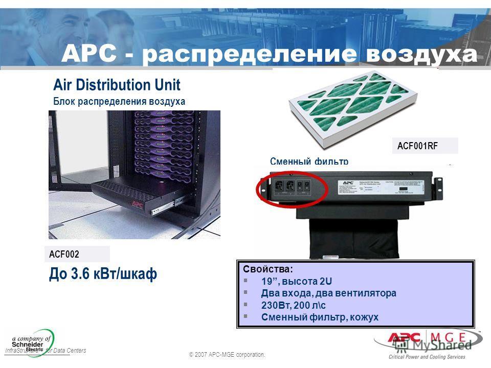 © 2007 APC-MGE corporation. InfraStruXure for Data Centers APC - распределение воздуха Air Distribution Unit Блок распределения воздуха До 3.6 кВт/шкаф ACF002 Сменный фильтр ACF001RF Свойства: 19, высота 2U Два входа, два вентилятора 230Вт, 200 л\с С
