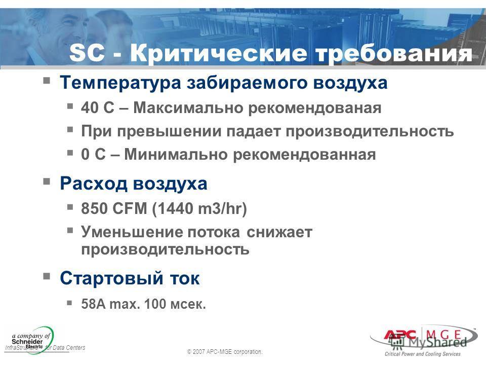 © 2007 APC-MGE corporation. InfraStruXure for Data Centers SC - Критические требования Температура забираемого воздуха 40 C – Максимально рекомендованая При превышении падает производительность 0 C – Минимально рекомендованная Расход воздуха 850 CFM