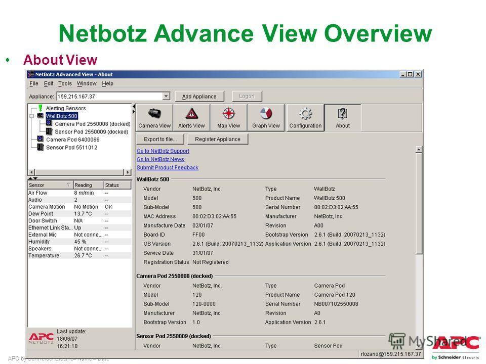APC by Schneider Electric– Name – Date About View Netbotz Advance View Overview