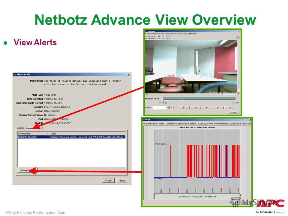 APC by Schneider Electric– Name – Date View Alerts Netbotz Advance View Overview