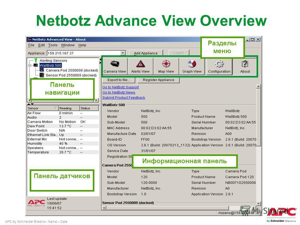 APC by Schneider Electric– Name – Date Панель навигации Панель датчиков Информационная панель Разделы меню Netbotz Advance View Overview