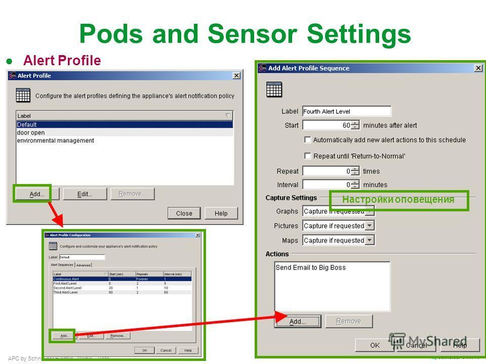 APC by Schneider Electric– Name – Date Pods and Sensor Settings Alert Profile Настройки оповещения