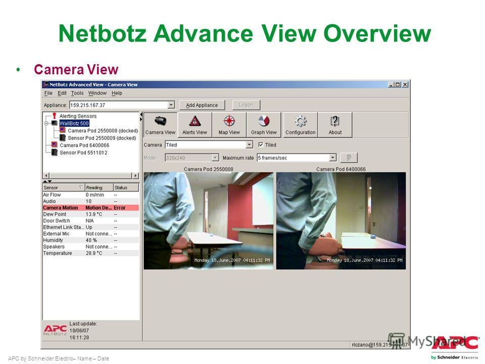 APC by Schneider Electric– Name – Date Camera View Netbotz Advance View Overview
