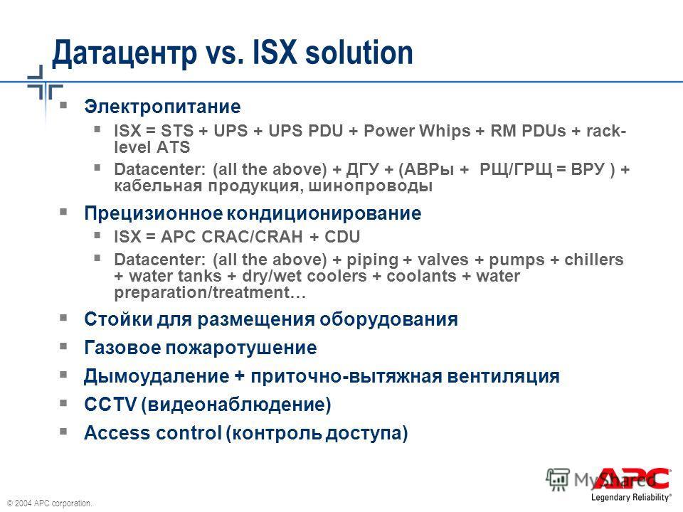 © 2004 APC corporation. Датацентр vs. ISX solution Электропитание ISX = STS + UPS + UPS PDU + Power Whips + RM PDUs + rack- level ATS Datacenter: (all the above) + ДГУ + (АВРы + РЩ/ГРЩ = ВРУ ) + кабельная продукция, шинопроводы Прецизионное кондицион