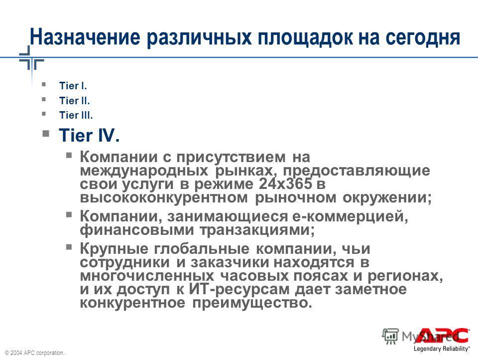 © 2004 APC corporation. Назначение различных площадок на сегодня Tier I. Tier II. Tier III. Tier IV. Компании с присутствием на международных рынках, предоставляющие свои услуги в режиме 24х365 в высококонкурентном рыночном окружении; Компании, заним