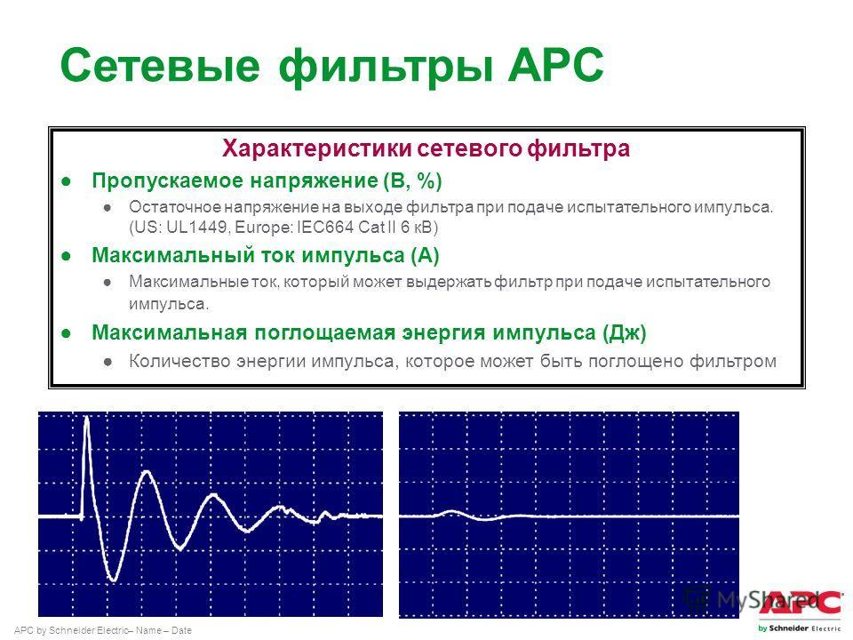APC by Schneider Electric– Name – Date Характеристики сетевого фильтра Пропускаемое напряжение (В, %) Остаточное напряжение на выходе фильтра при подаче испытательного импульса. (US: UL1449, Europe: IEC664 Саt II 6 кВ) Максимальный ток импульса (А) М