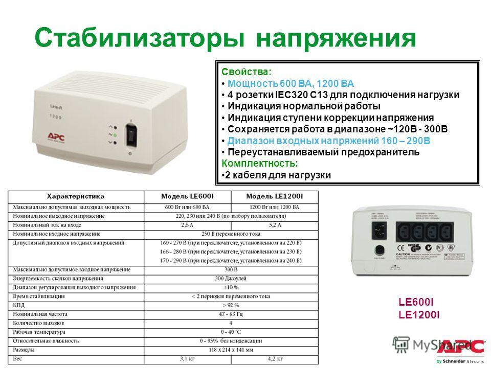 APC by Schneider Electric– Name – Date LE600I LE1200I Свойства: Мощность 600 ВА, 1200 ВА 4 розетки IEC320 C13 для подключения нагрузки Индикация нормальной работы Индикация ступени коррекции напряжения Сохраняется работа в диапазоне ~120В - 300В Диап
